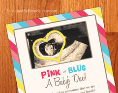 Pregnancy Announcement with Ultrasound Photo - Pink or Blue a Baby's Due with Fruit Size Comparison