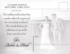 Love & Thanks Wedding Thank You Card - Double Sided with Rustic Chic Feel