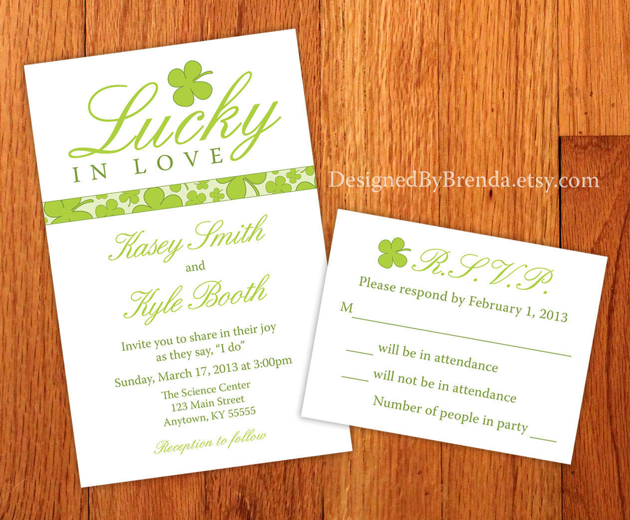 Lucky in Love Wedding Invitations with Green Four Leaf Clover Shamrocks - St. Patrick's Day Wedding