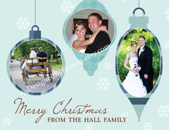Whimsical Christmas Ornament Card with 3 Photos - Any Colors & Any Holiday Greeting