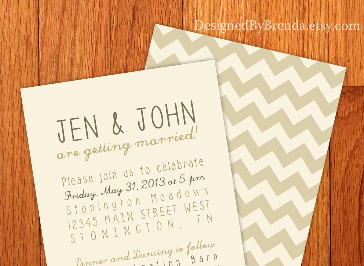 Vintage Style Chevron Wedding Invitations - Browns & Tans on Cream Background - Modern Typography