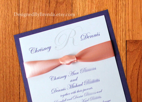 Custom Formal Layered Wedding Invitation with Hand Tied Ribbon Knot - Any Colors