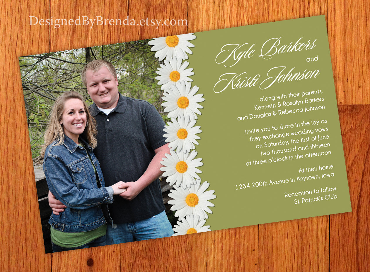White Daisy Wedding Invitations with Photo - Green Background can be Any Color