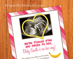 Tickled Pink Girl Gender Reveal Card Invite for Pregnancy - With Ultrasound Image