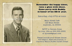 Vintage In a Flash Birthday Invitation - with Filmstrip & Multiple Photos - Any age
