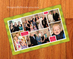 Pink & Lime Green Argyle Holiday Card with 6 Photos in a Custom Collage
