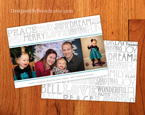 Holiday Christmas Card with Photo and Typography Collage - Double Sided, White, Teal Grey