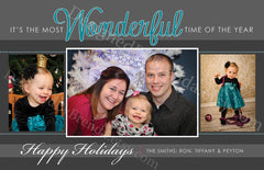 Holiday Card with 3 Photos - Grey & Teal, It's the Most Wonderful Time of the Year