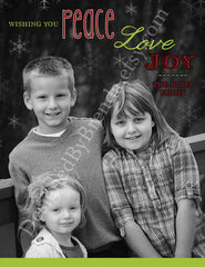 Custom Holiday Card with Photo - Peace, Love, Joy on Black & White Picture