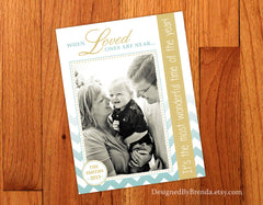 Gold & Teal Chevron Holiday Card with Photo - Most Wonderful Time of the Year