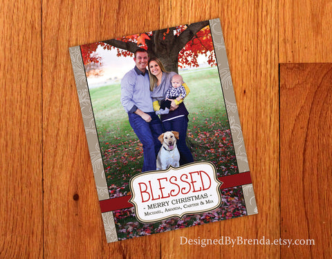 """Blessed"" Christmas Card with Photo"