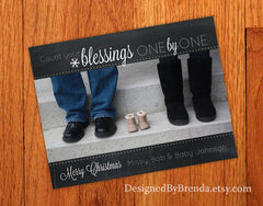 Chalkboard Pregnancy Announcement with Shoe Photo - Count Your Blessings One By One
