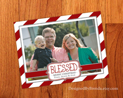 Candy Cane Stripes Christmas Card with Photo and Sparkly Silver  Border