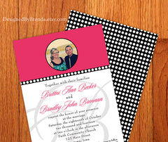 Pink, Black & White Polka Dot Wedding Invitation with Photo with Monogram Watermark