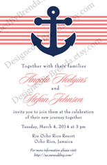 Coral & Navy Nautical Anchor Wedding Invitation - Perfect for Cruise or Destination Wedding