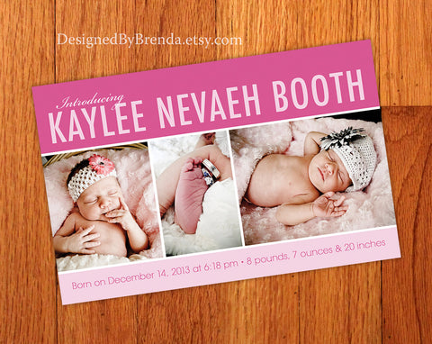 Modern Birth Announcement Card - Can be made for a Baby Girl or Boy