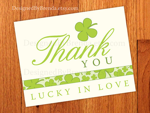 Shamrock Lucky In Love Thank You Cards - Folded Notecard, with Green Four Leaf Clovers