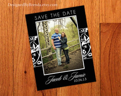 Black & White Damask Patterned Save the Dates with Photo