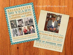 Vintage Chevron Birthday Invitations with Photos - Or Anniversary Party Invite