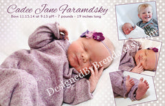 Polka Dot Baby Announcement with Photo Collage - Large size, purple