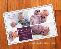 Large Chevron Birth Announcement with Multiple Pictures - Grey & Plum with Photo on Back