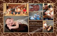 Birth Announcement with Giraffe Print Background - Animal Safari Feel with Pictures