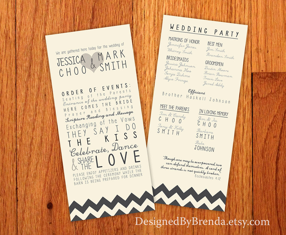 long skinny gray chevron wedding programs fun trendy any