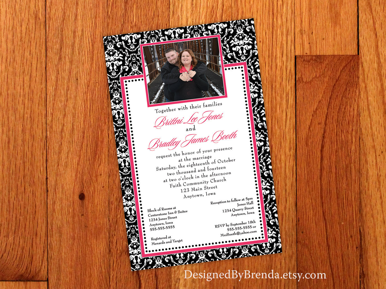 Pink, Black & White Damask Wedding Invitations with Photo - Can also be Anniversary Invite