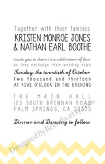 Modern White and Yellow Chevron Wedding Invitations - Simple Look with Fun Typography