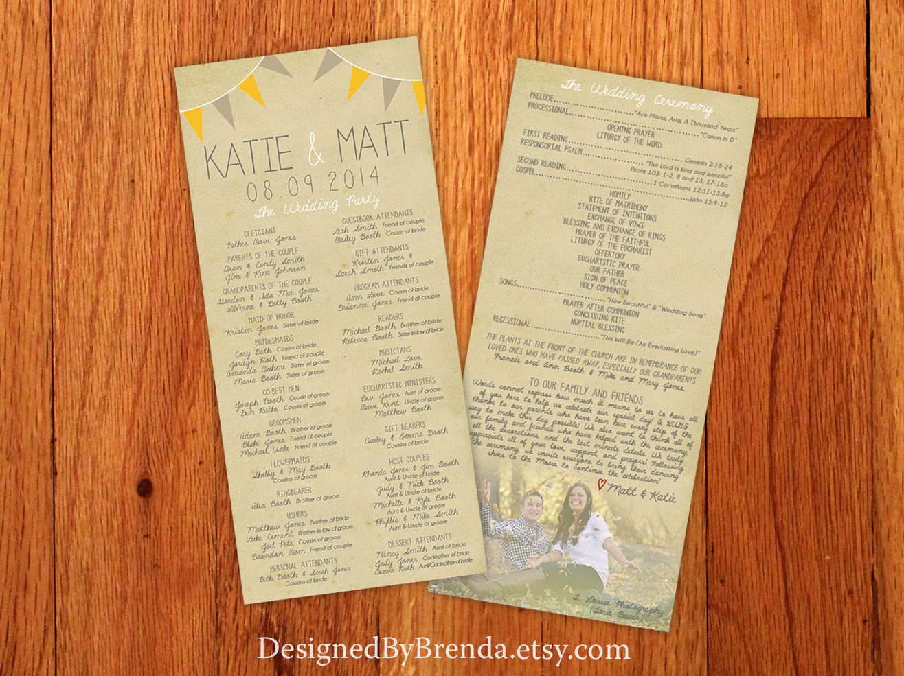 vintage wedding programs with rustic photo banner nostalgic