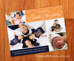 Orange & Navy Blue Chevron Baby Announcement with 4 Photos - Fun & Quirky
