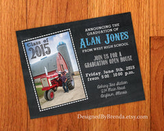 Chalkboard Style Graduation Announcement Invitation Postcards - With photo