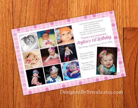 First Birthday Invitation - Large with Timeline of Photos from 1st Year
