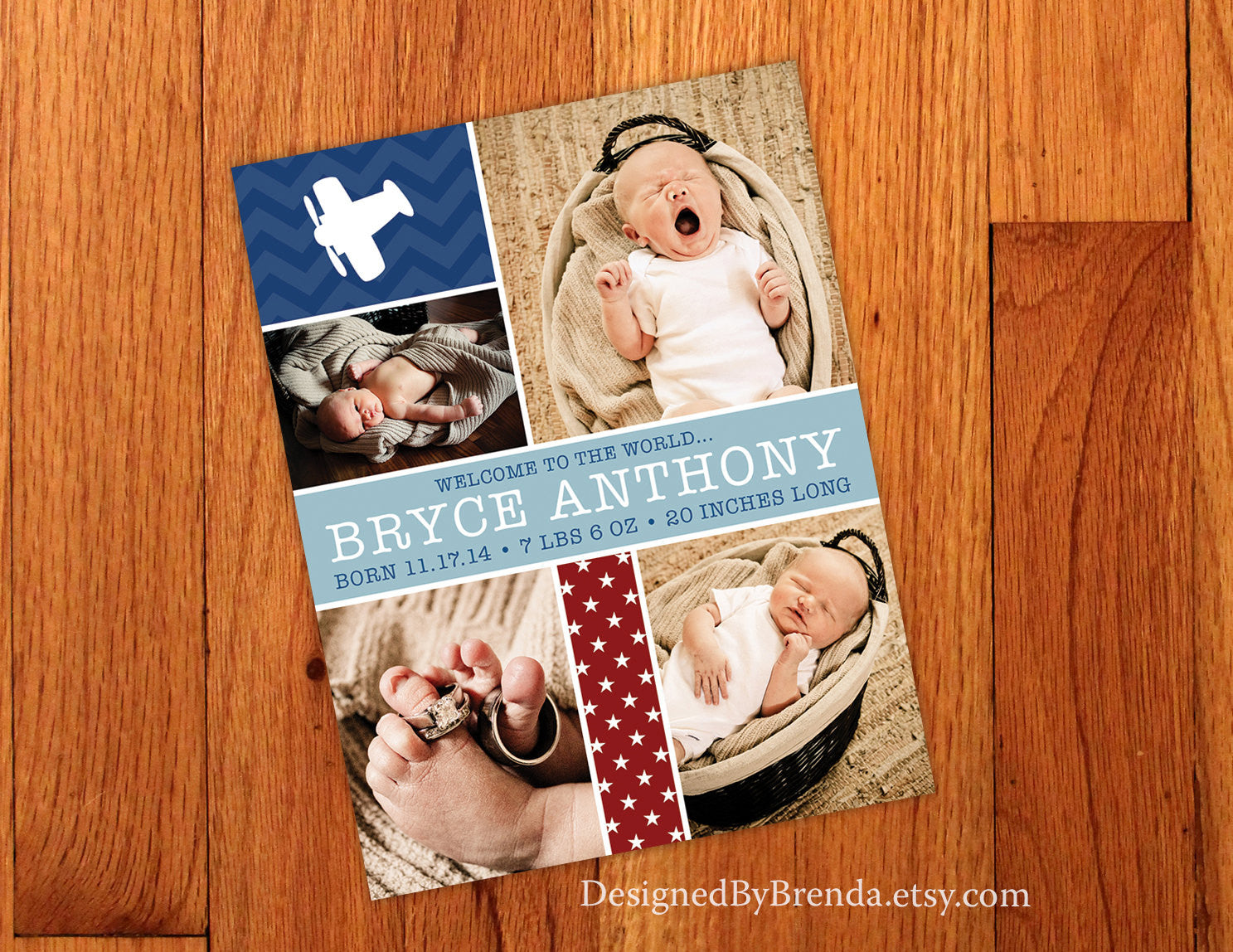 Stars and Airplanes Birth Announcement Card with Photos - Fun Red, White & Blue