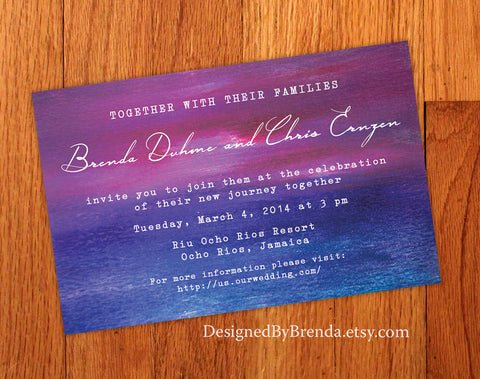 Abstract Artistic Wedding Invitation with Faux Painted Sunset Background - Purple, Pink & Blue