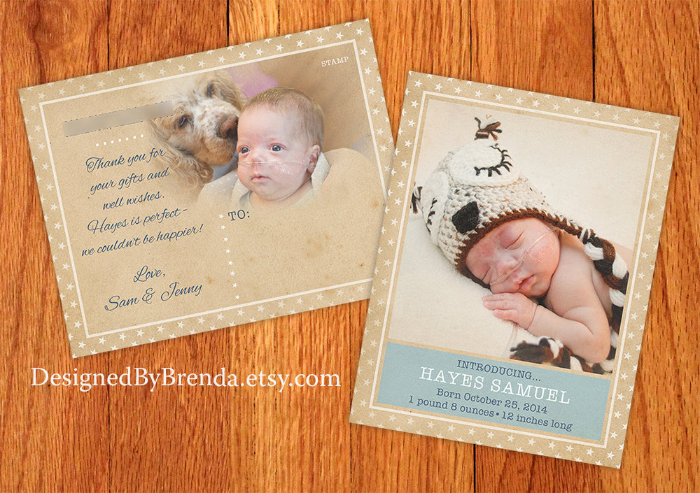 Vintage Style Birth Announcement Postcard with Rustic Star Border & Photos - Recycled Cardstock