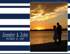 Modern Wedding Thank You Postcard with Horizontal Stripes