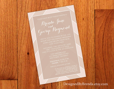 Light Brown Chevron Wedding Invitations with Shabby Chic Feel