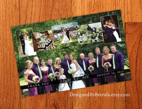 Large Wedding Thank You Postcard with Photo Collage - Or Wedding Announcement