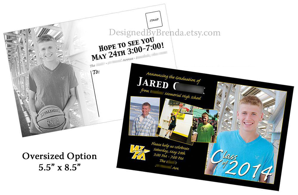 Graduation Party Invitation Postcard With Photos On Front Back