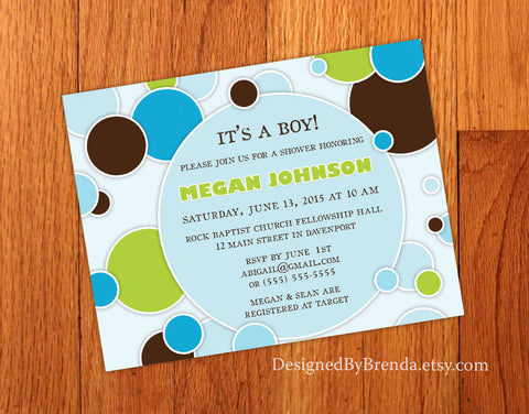 Circles & Dots Bridal or Baby Shower Invite - Blue, Brown & Green Boy Colors
