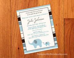 Pink or Blue Striped Elephant Baby Shower Invitation
