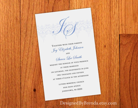 Classic Victorian Wedding Invitation with Custom Monogram and Blue Lace Scrolls