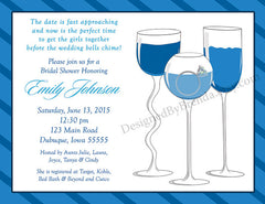 Pink Wine Glasses Bridal Shower or Bachelorette Party Invitation with Engagement Ring