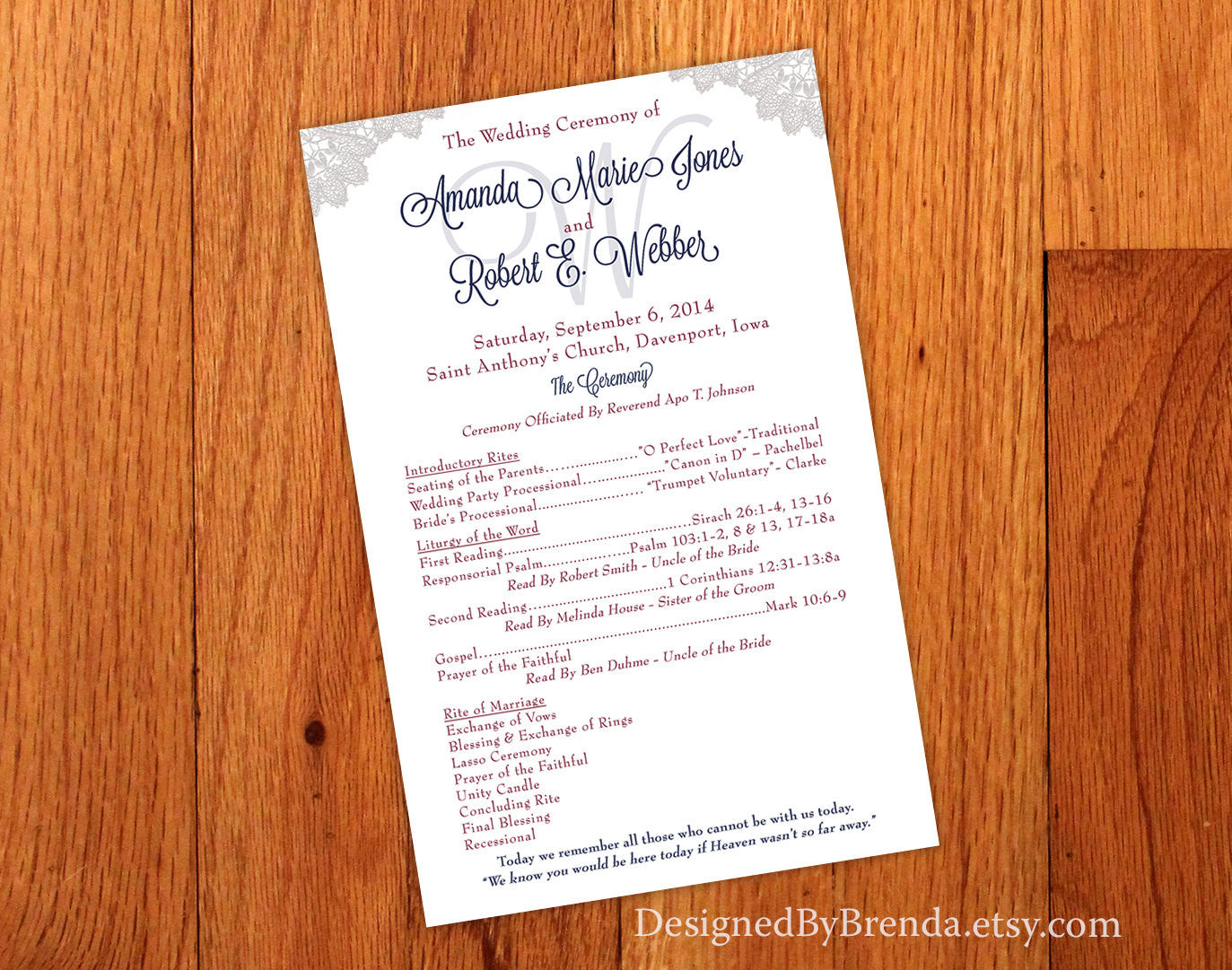 Large Double Sided Programs - Vintage Lace - Navy Blue & Raspberry Pink