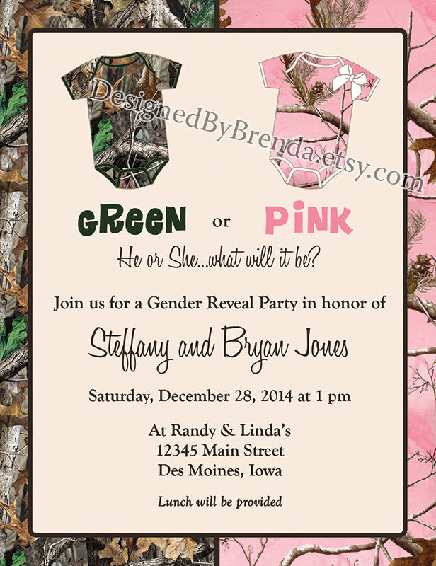 Camo Baby Gender Reveal Party Invitation Green or Pink – Designed By ...