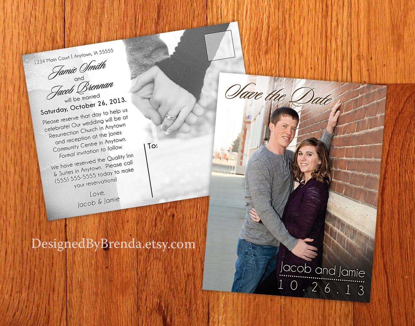 Modern Save the Date (STD) Postcards - Photos on both sides