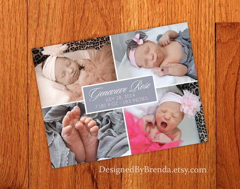 Modern Baby Announcement with Four Large Photos - Simple with Clean Lines