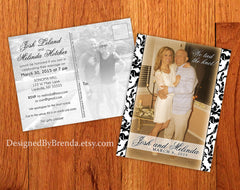Damask Wedding Announcement Postcards with informal Reception Invitation on Back