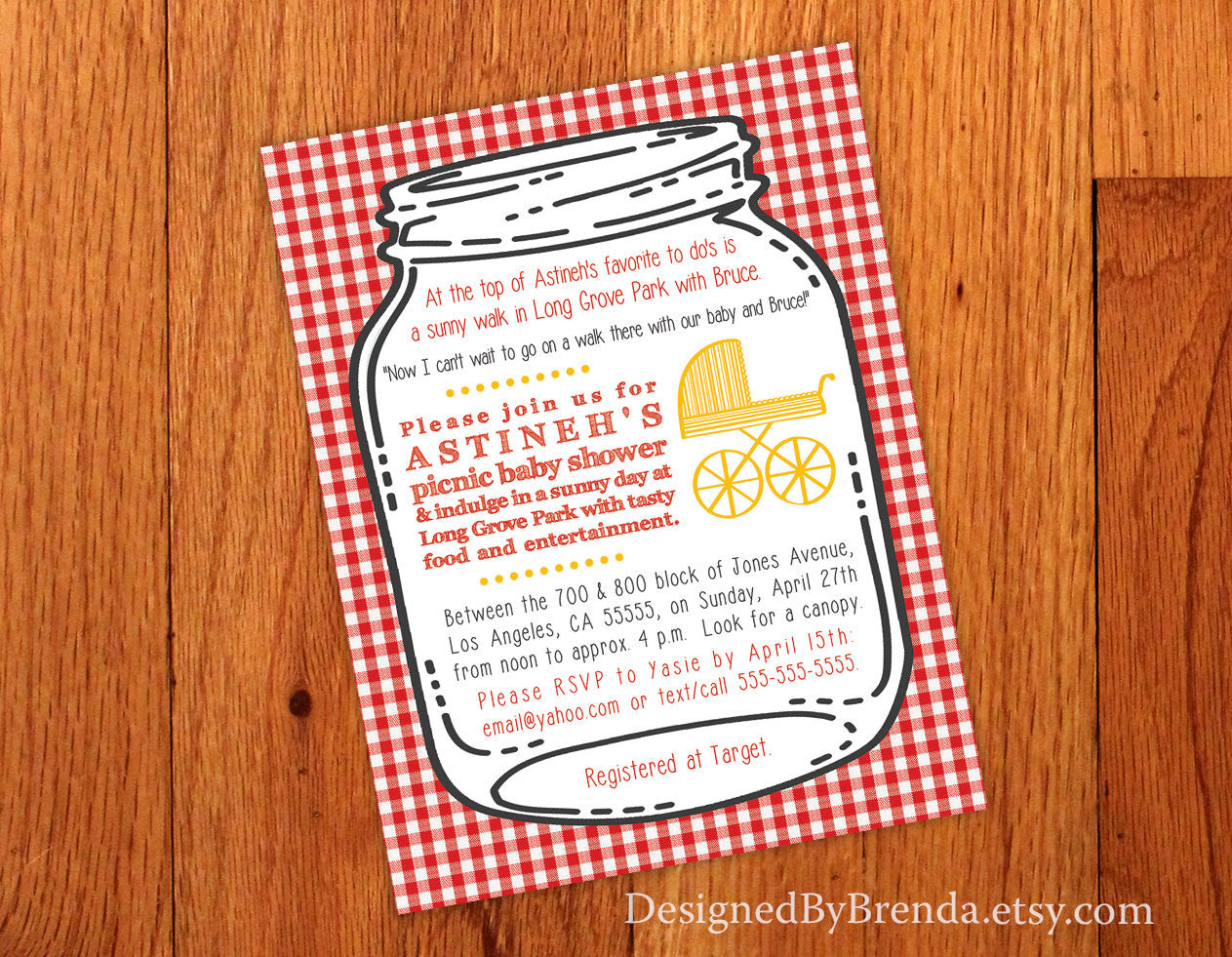 Canning Jar Wedding or Baby Shower Invitation with Red & White Gingham Background